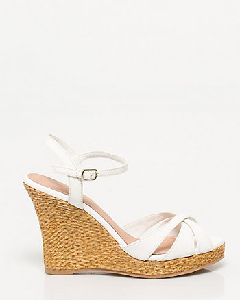 Faux Leather Ankle Strap Wedge