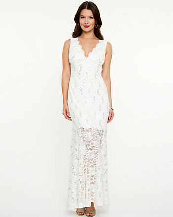 Lace V-Neck & Open-Back Gown