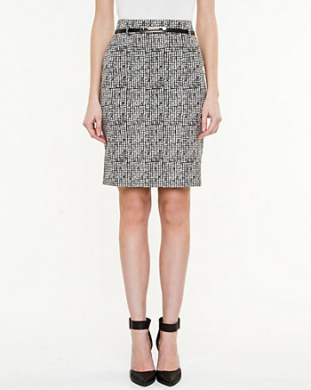 Jacquard Belted Pencil Skirt