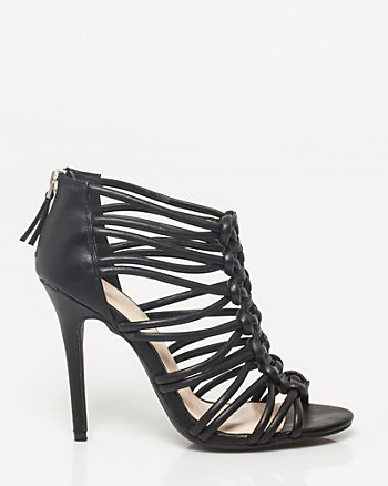Faux Leather Caged Sandal