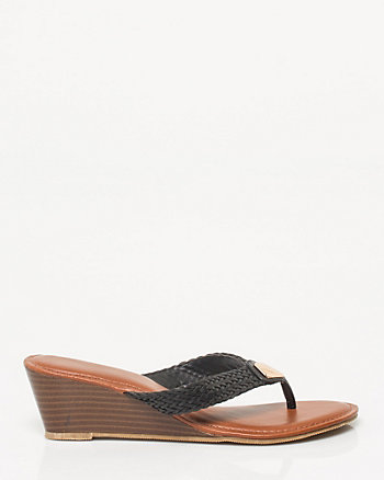 Leather-Like Thong Wedge