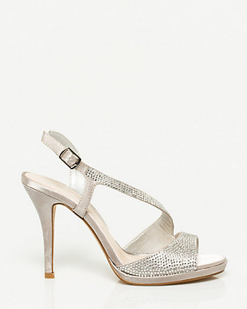 Jewelled Asymmetrical Strap Sandal