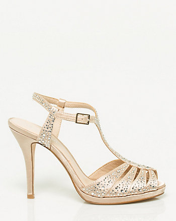 Jewel Encrusted Satin Sandal
