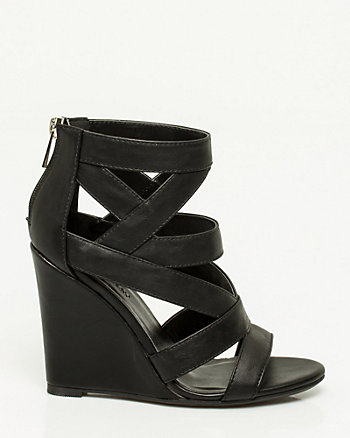Faux Leather Caged Wedge