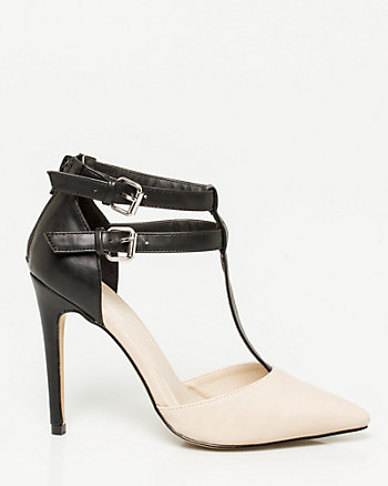 Leather-Like T-Strap Pump