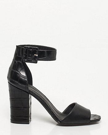 Croco Block Heel Sandal