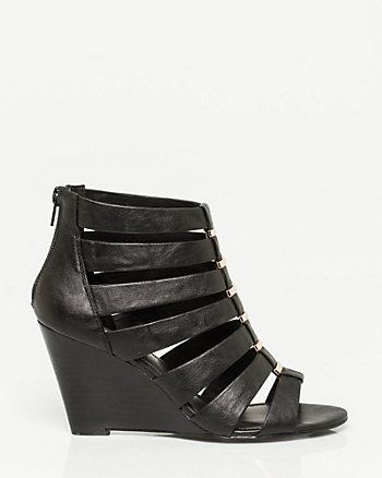 Faux Leather Cage Wedge