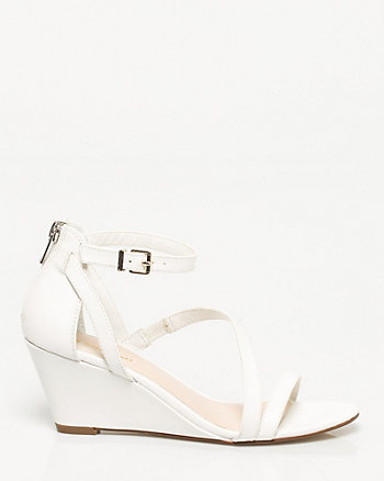 Faux Leather Asymmetrical Wedge