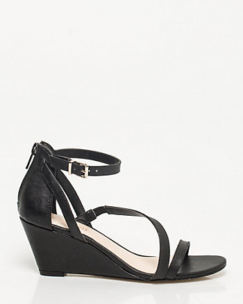 Leather-Like Asymmetrical Wedge