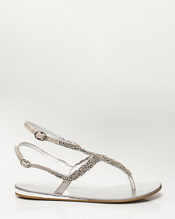 Jewelled Metallic T-Strap Flat Sandal