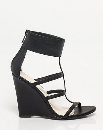 Leather-Like Ankle Cuff Wedge