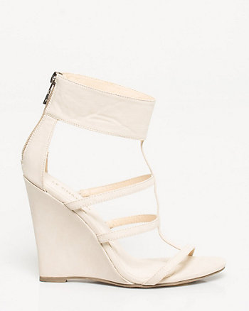 Faux Leather Ankle Cuff Wedge