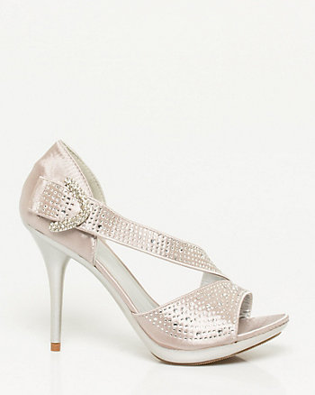 Gem Encrusted Satin Sandal