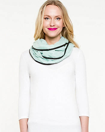 Woven & Leather-Like Trim Infinity Scarf