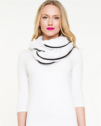 Woven & Faux Leather Trim Infinity Scarf
