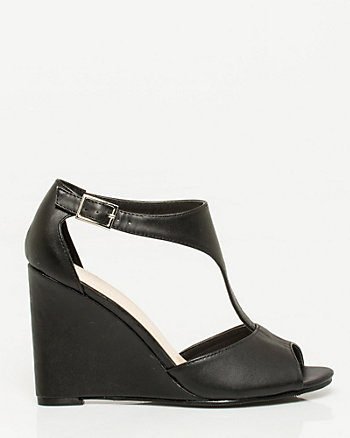 Leather-Like T-strap Wedge