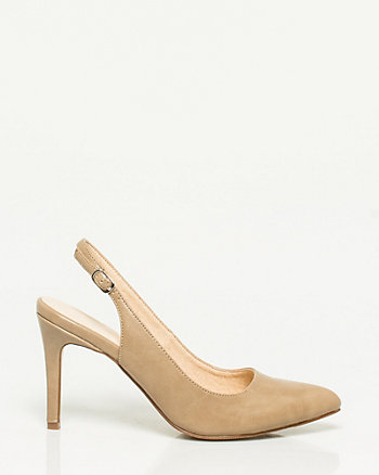 Leather-Like Pointy Toe Slingback Heel