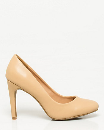 Leather-Like Almond Toe Pump