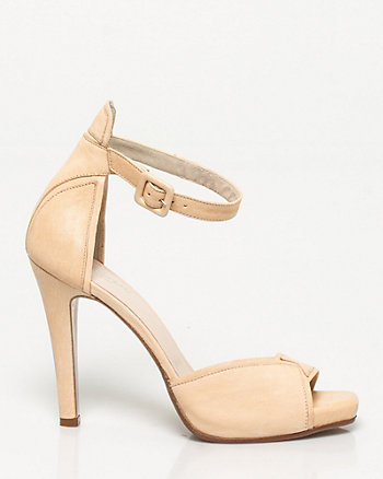 Italian-Made Leather Ankle Strap Heel