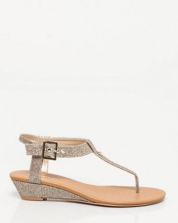 Glitter T-Strap Wedge Sandal
