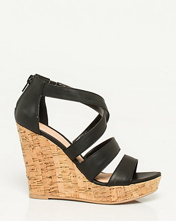 Leather-Like Strappy Wedge