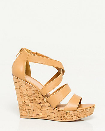 Faux Leather Strappy Wedge