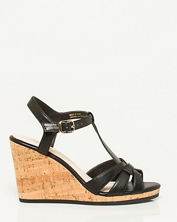Faux Leather T-Strap Wedge