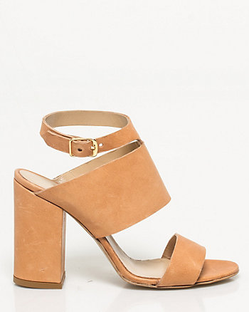 Italian-Made Leather Block Heel Sandal