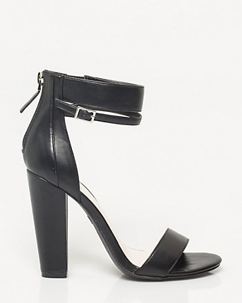 Leather-Like Block Heel Sandal