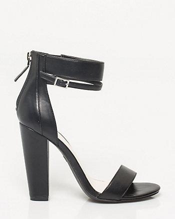 Faux Leather Block Heel Sandal