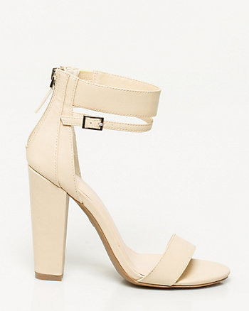 Faux Leather Block Heel Sandal