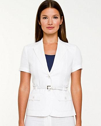 Linen Blend Short Sleeve Vest