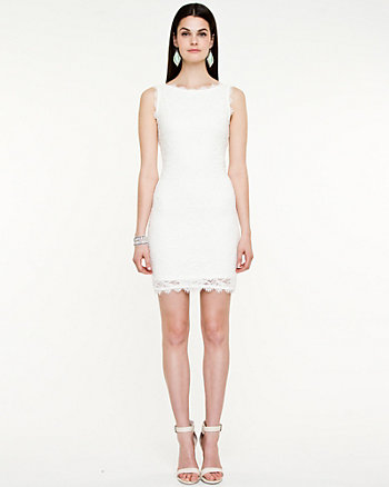 Lace Boat Neck Shift Dress