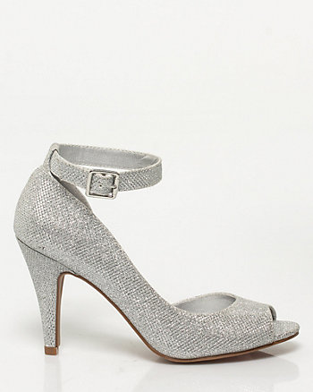 Glitter Mesh Ankle Strap Pump