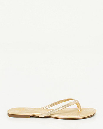 Metallic Leather Flip Flop
