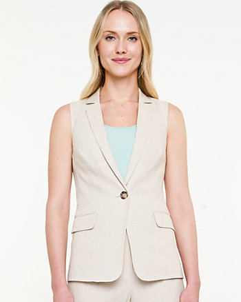 Linen Blend Notch Collar Vest
