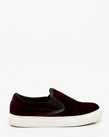 Velvet Round Toe Slip On Sneaker