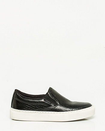 Embossed Leather Slip On Sneaker
