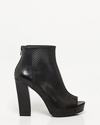 Faux Leather Block Heel Shootie