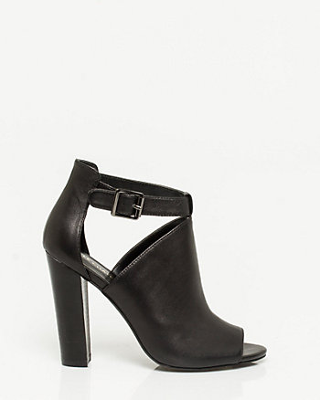 Leather Block Heel Shootie