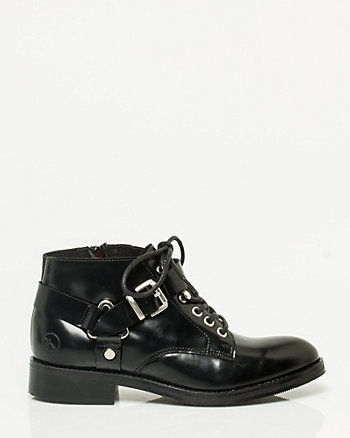 Leather Lace-Up Bootie