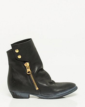Leather Side Zip Bootie