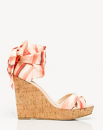 Satin Print Wedge Sandal