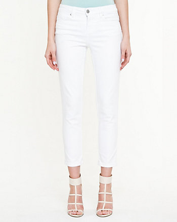 Stretch Denim Slim Leg Crop Pant