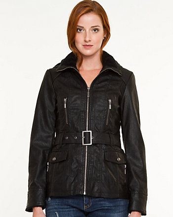 Leather-Like Hooded Jacket