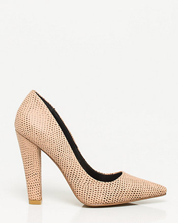 Lizard Texture Pointy Toe Block Heel Pump