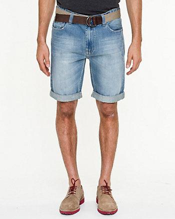 Belted Denim Cuffed Shorts