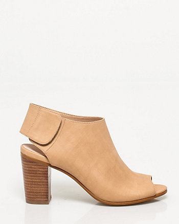 Faux Leather Peep Toe Slingback Shootie