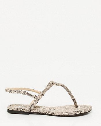 Sandale à bride axiale et motif d'aspect caviar