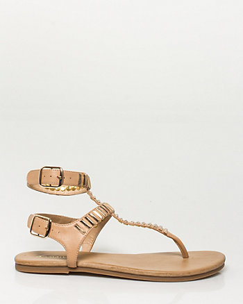 Leather Metal Embellished Sandal